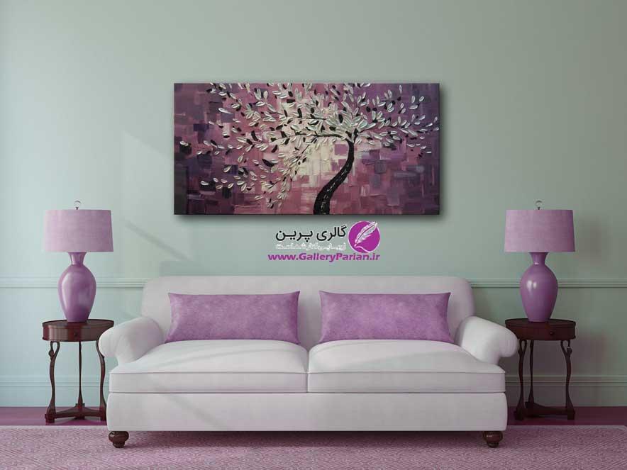 تابلو نقاشی درخت برجسته بنفش