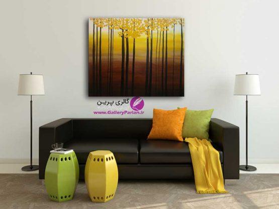 تابلو نقاشی درختان پاییزی