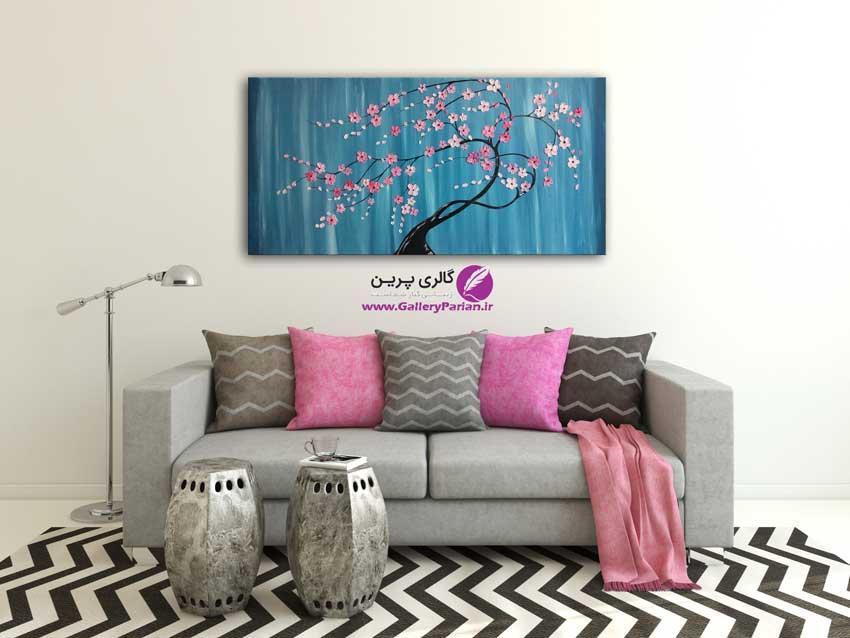 تابلو نقاشی شکوفه های برجسته صورتی