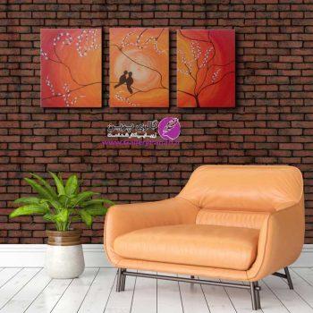 تابلو نقاشی سه تیکه دو پرنده