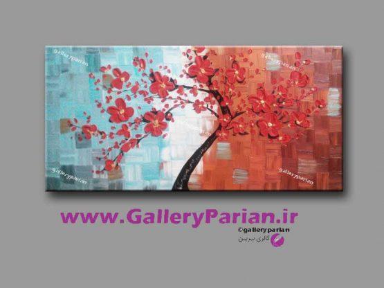 تابلو نقاشی گل برجسته قرمز
