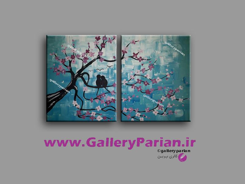 تابلو نقاشی دو تیکه پرنده