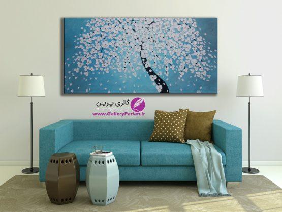 تابلو نقاشی گل برجسته، نقاشی شکوفه های برجسته، تابلو نقاشی آبی