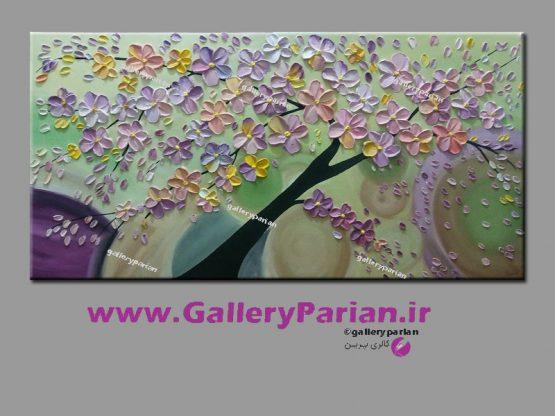 تابلو نقاشی گل برجسته ی صورتی