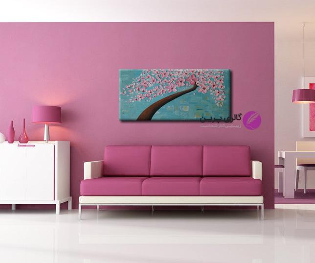 تابلو نقاشی گل برجسته صورتی،نقاشی درخت برجسته صورنی،نقاشی گل برجسته صورتی و آبی