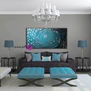 تابلو نقاشی درخت برجسته فیروزه ای،تابلو گل برجسته، تابلوی مدرن نقاشی،فروشگاه اینترنتی تابلو نقاشی،تابلو گل برجسته