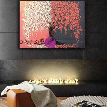 تابلو نقاشی شکوفه های صورتی،گل برجسته،نقاشی مدرن،فروشگاه اینترنتی تابلو نقاشی