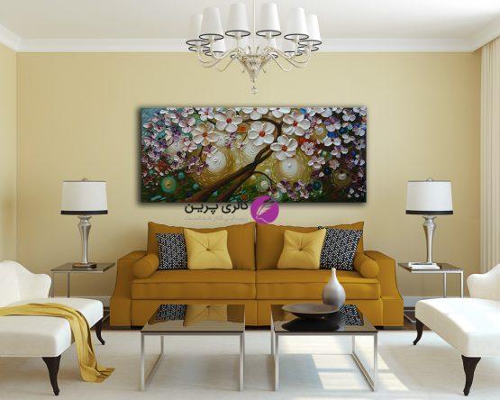 تابلو نقاشی درخت و گل برجسته سبزآبی،فروشگاه اینترنتی تابلو نقاشی،نقاشی برجسته،تابلو نقاشی مدرن و برجسته،نقاشی درخت برجسته