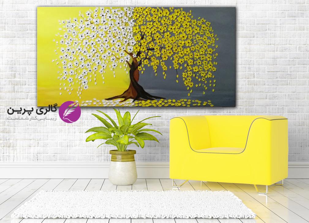 تابلو نقاشی شکوفه های بهاری،تابلو نقاشی شکوفه های زرد،نقاشی درخت و گل برجسته،شکوفه های برجسته