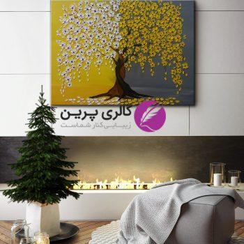 تابلو نقاشی شکوفه های زرد و سفید،گل برجسته،نقاشی برجسته