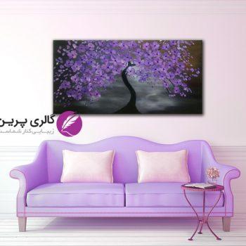تابلو نقاشی گل برجسته بنفش،نقاشی مدرن،شکوفه های بنفش،شکوفه های برجسته،نقاشی برجسته