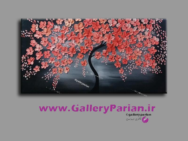 تابلو نقاشی شکوفه های نارنجی، نقاشی گل برجسته