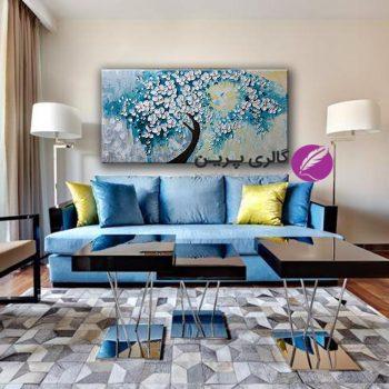 تابلو نقاشی مدرن،نقاشی گل برجسته،نقاشی درخت و شکوفه،نقاشی دکوراتیو،نقاشی گل آبی و سفید
