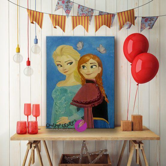 تابلو نقاشی السا و انا ،تابلو نقاشی کودکان،تابلو دخترانه،نقاشی برای کودکان،نقاشی اتاق کودکان