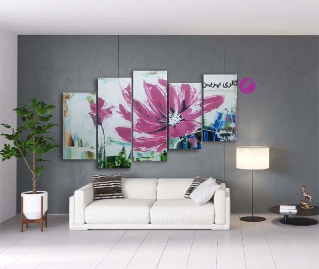 تابلو نقاشی مدرن گل ، تابلو نقاشی 5 تیکه،نقاشی مدرن،نقاشی گل،نقاشی دکوراتیو