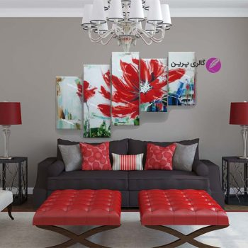 تابلو نقاشی گل مدرن ،تابلو نقاشی 5 لته،نقاشی گل قرمز،تابلو نقاشی گل،نقاشی گل،تابلو نقاشی گل رنگ روغن