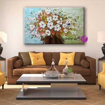 تابلو نقاشی سبد گل برجسته،نقاشی سبد گل،تابلو سبد گل،نقاشی برجسته،نقاشی مدرن،نقاشی کلاسیک