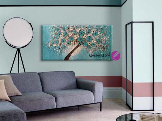 تابلو نقاشی آبی،نقاشی گل برجسته،تابلو نقاشی مدرن آبی،تابلو نقاشی مدرن گل،نقاشی برجسته،دکوراسیون آبی
