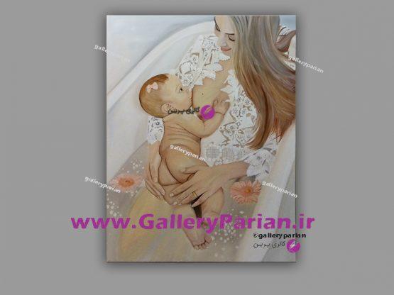 تابلو نقاشی مادر،نقاشی مادر و بچه،نقاشی مادر و فرزند،تابلو نقاشی،سفارش نقاشی،نقاشی برای مطب پزشک،نقاشی دکتر