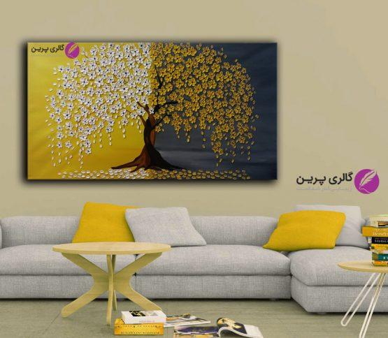 تابلو نقاشی برجسته درخت و شکوفه خردلی،نقاشی گل،نقاشی مدرن زرد و سفید،نقاشی گل برجسته،تابلو برجسته