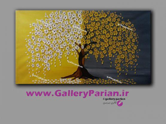 تابلو نقاشی درخت و شکوفه خردلی،نقاشی گل،نقاشی مدرن زرد و سفید،نقاشی گل برجسته،تابلو برجسته