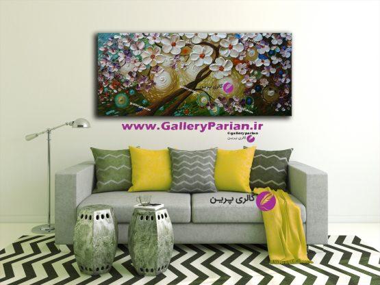 تابلو نقاشی گل و درخت برجسته سبزآبی،نقاشی مدرن،نقاشی گل برجسته،تابلو نقاشی برجسته،فروش تابلو نقاشی،لاگچری،نقاشی بزرگ،فروش تابلو رنگ وروغن