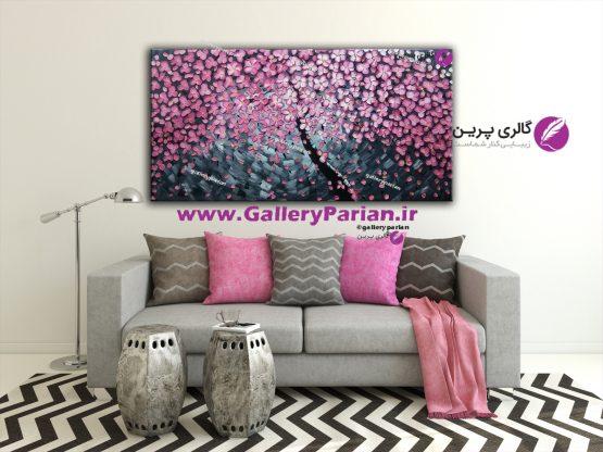 تابلو نقاشی صورتی،نقاشی گل مدرن،نقاشی دکوراتیو گل برجسته،تابلو نقاشی گل برجسته صورتی،فروش تابلو مدرن،تابلو نقاشی مدرن