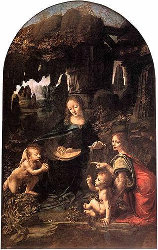 تابلو نقاشی باکره صخره ها،اثر لئوناردو داوینچی،نقاشی داوینچی،نقاشی معروف،نقاشان معروف