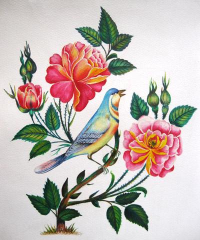 نقاشی گل و مرغ،نقاشی گل،نقاشی سنتی،فروشگاه اینترنتی تابلو نقاشی