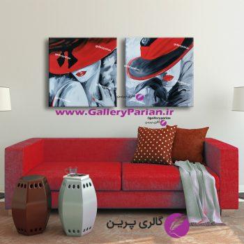 تابلو نقاشی دو تکه زن آبستره،نقاشی مدرن،نقاشی آبستره،نقاشی دختر،تابلو عکس دختر،نقاشی،تابلو مدرن
