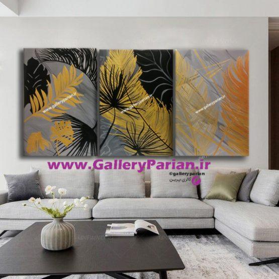 تابلو نقاشی سه تکه طلایی،نقاشی طلایی،نقاشی طوسی،تابلو ظوسی و طلایی،تابلو زرد و طوسی،دکوراسیون،تابلودکوراتیو