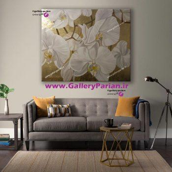 تابلو گل بزرگ،تابلو نقاشی گل سفید،تابلو نقاشی ورق طلا،تابلو نقاشی بزرگ،تابلو نقاشی مدرن،تابلو نقاشی طلایی،تابلو نقاشی گل