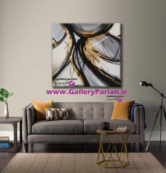 تابلو نقاشی انتزاعی طوسی و طلایی،نقاشی مدرن،تابلو نقاشی،فروش تابلو نقاشی،ورق طلا،تابلو طلایی،تابلو طوسی و طلایی،تابلو زرد