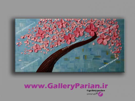 تابلو نقاشی گل برجسته صورتی و آبی