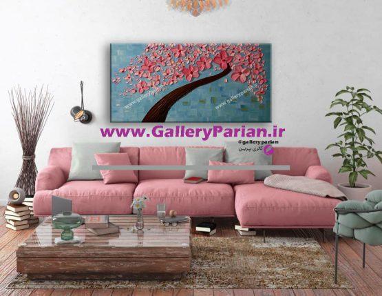 تابلو نقاشی گل برجسته صورتی و آبی،نقاشی برجسته،تابلو نقاشی مدرن،فروش تابلو نقاشی،تابلو نقاشی درخت و گل،تابلو برجسته آبی